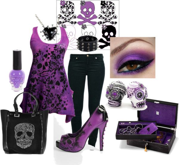 """Feeling Skully"" by sweetlikecandycane on Polyvore -- I dont like the lose shirt style but I love the purple and black. Also SKULLS!"