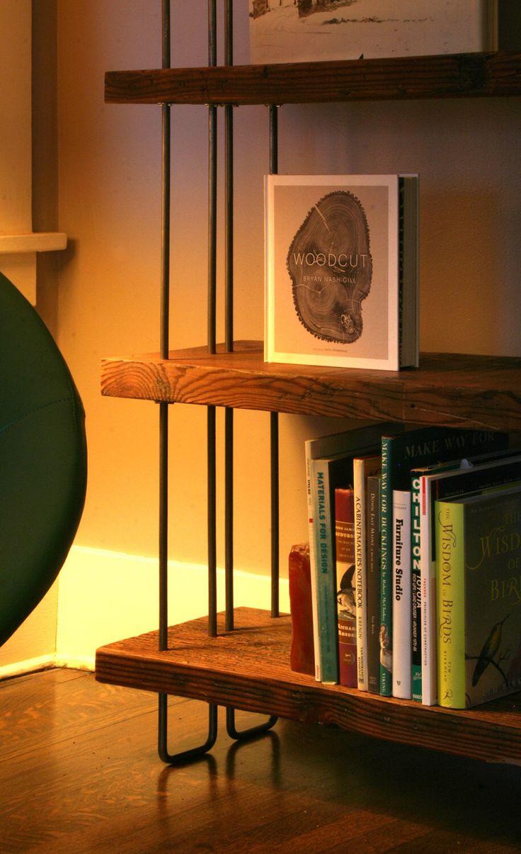 book case from reclaimed old growth wood and high recycled content steel - bookshelf - shelving - modern industrial urban wood by birdloft on Etsy https://www.etsy.com/listing/175407712/book-case-from-reclaimed-old-growth-wood
