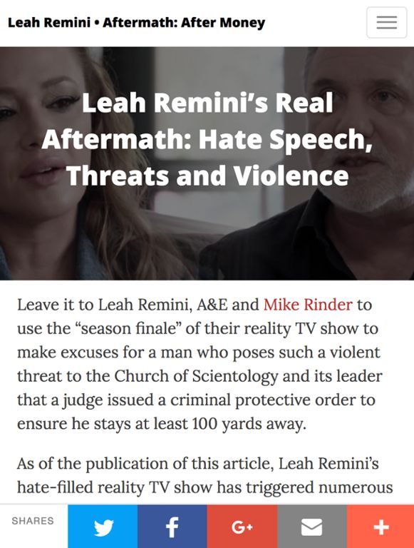 Anti-Religious Hate Crimes Should Be No Smirking Matter for A&E, Leah Remini and Mike Rinder    Read the full story on STAND: http://qoo.ly/e485d    An A&E series produced by Slauson Productions allowing avowed anti-Scientologists Leah Remini and Mike Rinder to smirk and strut their way through a maze of fiction and farce about Scientology has incited hundreds of hate messages and threats directed at the Church of Scientology and Scientologists.    While vigilance and rapid action by police…