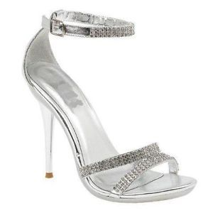 silver heels for prom | Ladies Silver Diamante High Heel Shoe Bridal Rhinestone Sandals Prom ...
