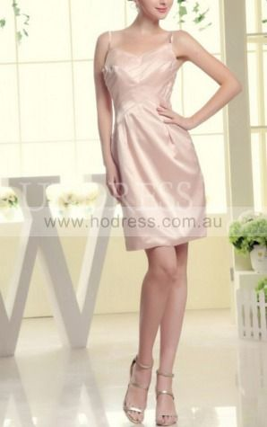 Sheath Spaghetti Straps Knee-length Satin Natural Party Dresses gt3460--Hodress