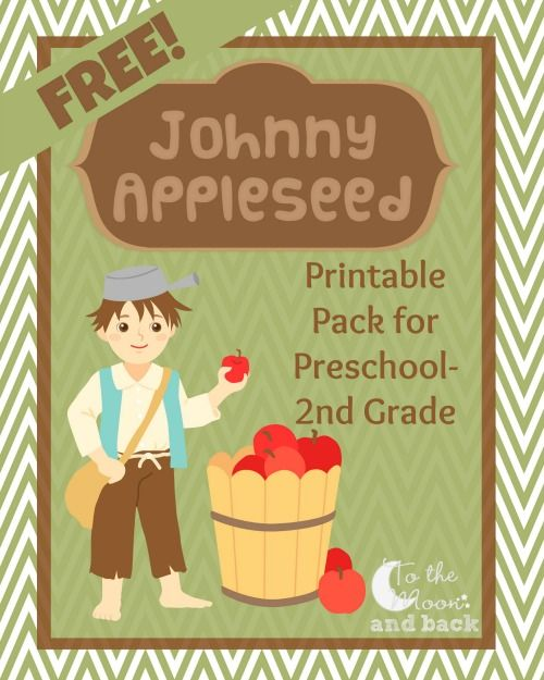 10 pages of Johnny Appleseed printables
