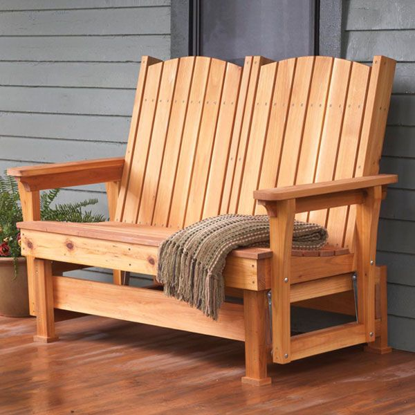 """Easy, Breezy Glider Woodworking Plan— Sit back, relax, and enjoy summer evenings with a friend in this comfy glider. To build it, you need only """"one-by"""" and """"two-by"""" cedar boards, screws, and simple swinging hardware. http://www.woodstore.net/eabrgl.html"""