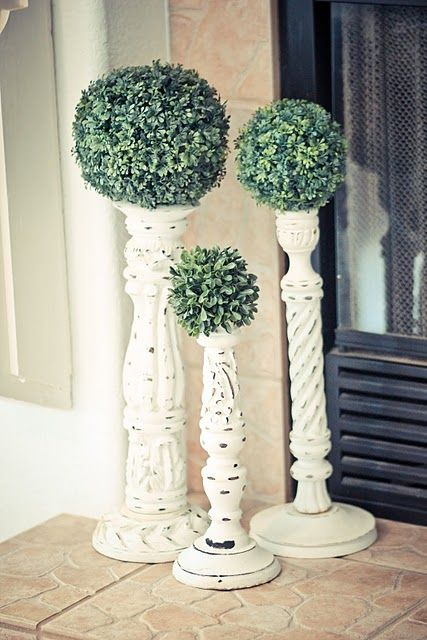 candlesticks and topiaries