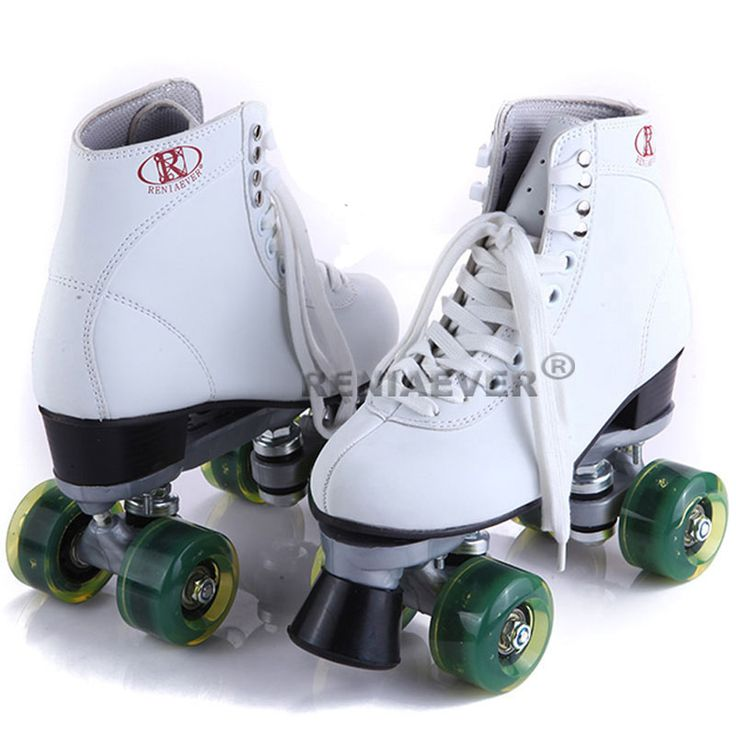 Roller Skates White With Green Led Lighting Wheels Double Line Skates Adult 4 Wheels Two line Roller Skating Shoes Patines