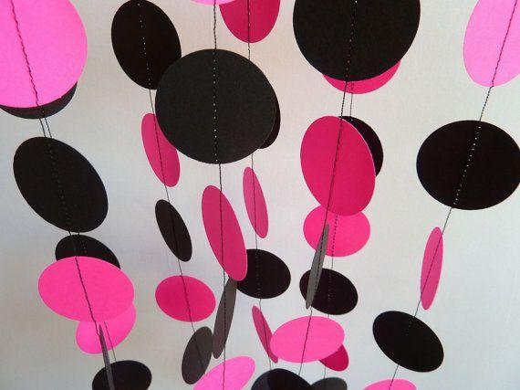 Hot Pink & Black Garland Paper Garland by FabulouslyHomemade, $10.00
