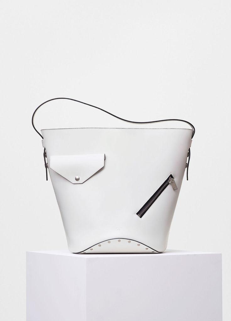 Bucket Biker Shoulder Bag in White and Dark Green Natural Calfskin