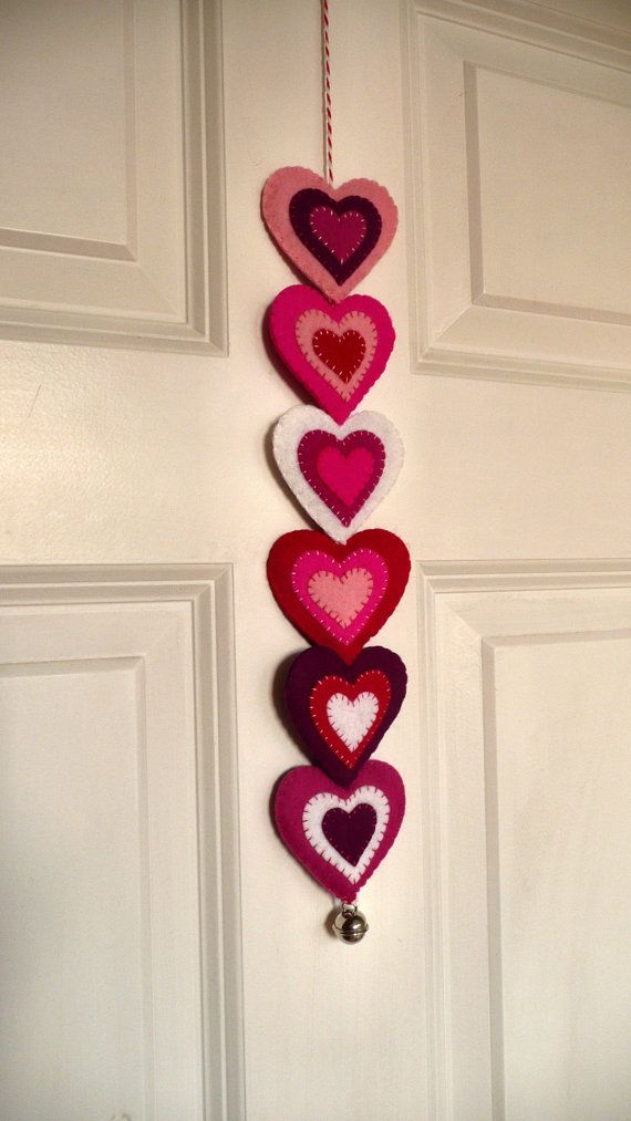Colorful felt hearts garland by HetBovenhuis on Etsy