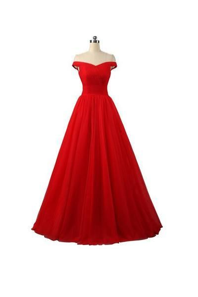 63b10cde65b Sexy A-line Red Floor Length Tulle PromDresses Evening Dresses ...