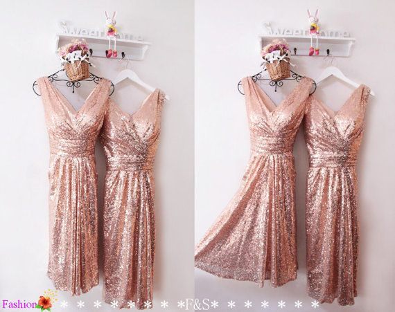 Short Sequin DressRose Gold Metallic Prom by FashionStreets