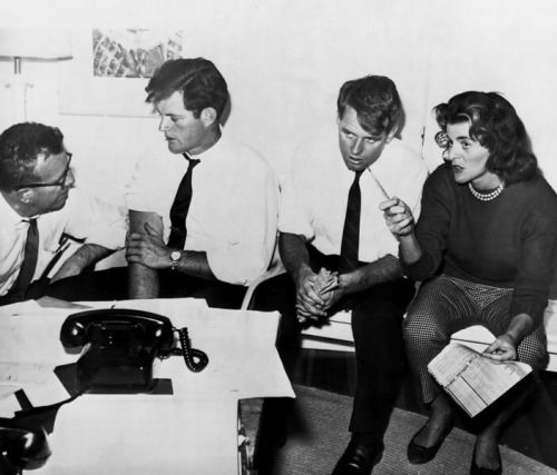 Ted, Bobby, and sister Patricia consulting during the 1960 election.