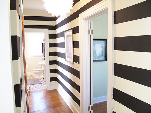 My favorite space in our home - the striped hallway. Jeremyandkathleen.blogspot.com