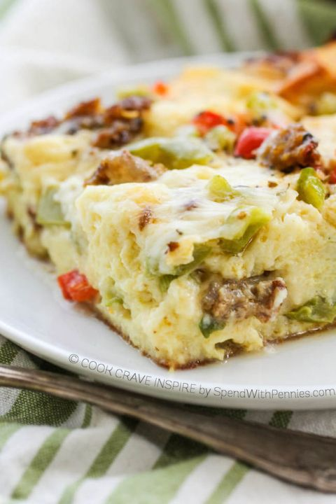 This Overnight Breakfast Casserole with sausage, peppers, italian seasoning and cheese is the perfect make ahead breakfast idea! Easy to make & delicious!
