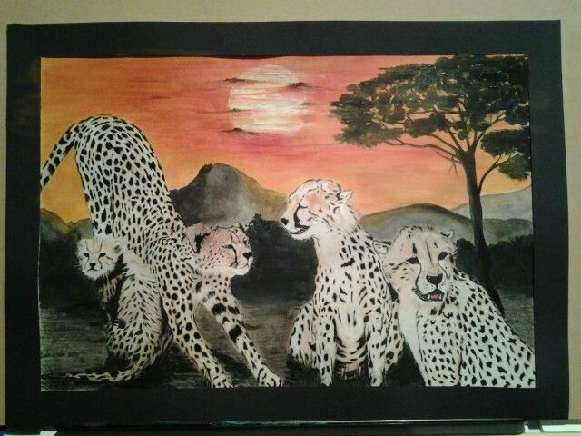 Cheetahs Chilling - colour pencil with acrylic paint background - 60 x 40 - $185.00 - NOT FRAMED
