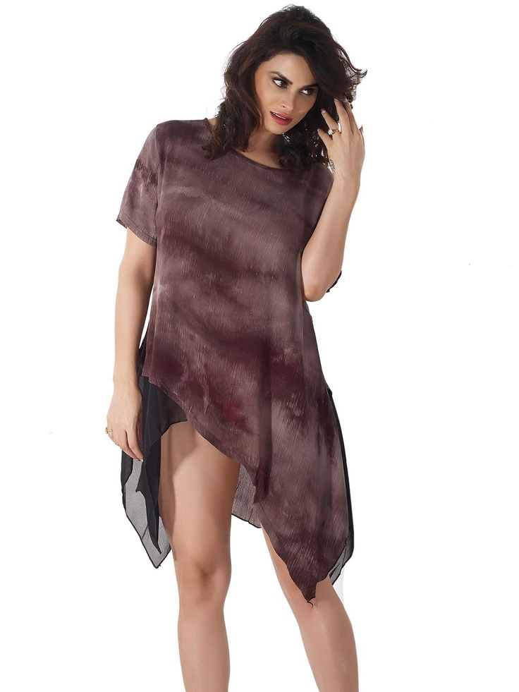 Shyle Dark Brown Loose Fit Shift Dress