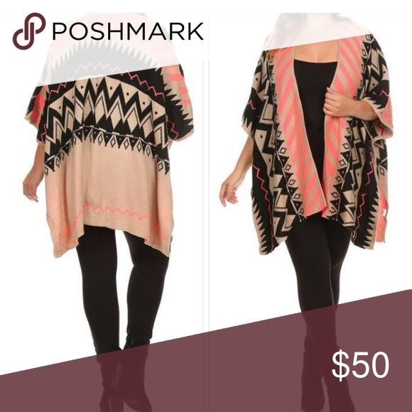 Plus size one fit poncho cardigan tribal print Plus size one size fit most large to 3x/4x. With open front and arm holes poncho cardigan style. Lovely pink tribal print. Jackets & Coats