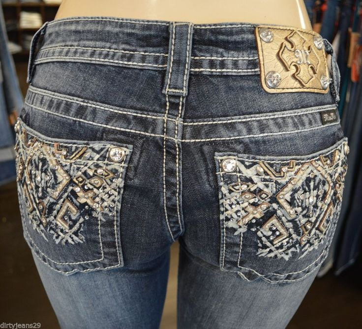 $89.00 Miss Me Women's Jeans Boot Cut Aztec Pocket Medium Wash JP8161B EXTENDED SIZES #MissMe #BootCut