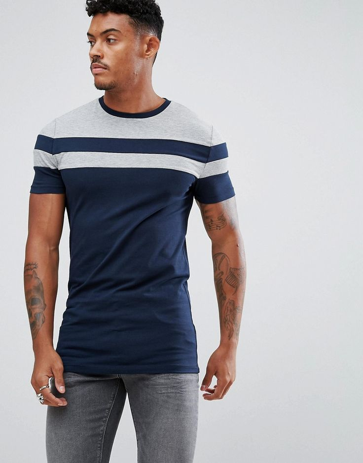 ASOS James Longline Muscle Fit T-Shirt With Contrast Panels - Navy