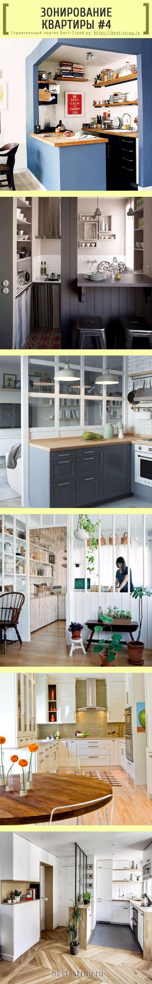 Зонирование и отделение кухни от гостиной комнаты: используем цвет стен, барные стойки и фактуру пола.