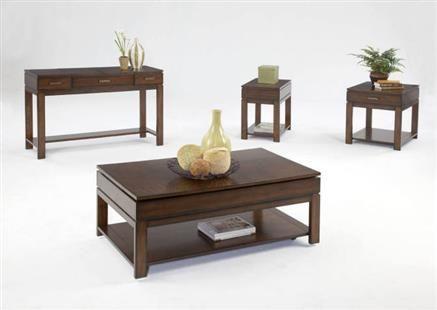 Miramar Contemporary Cherry Birch Wood Coffee Table Set