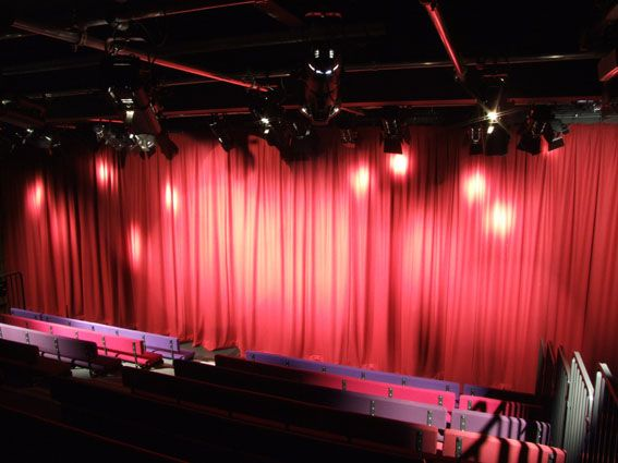 Stage lighting and drapes at Gateshead College