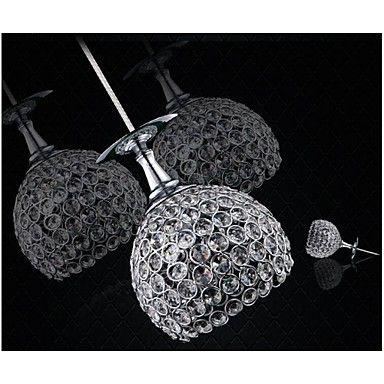 Single 3 Light Wine Cup Design Modern Crystal LED Pendant Light Restaurant Lamp Bar Droplight – GBP £ 116.79