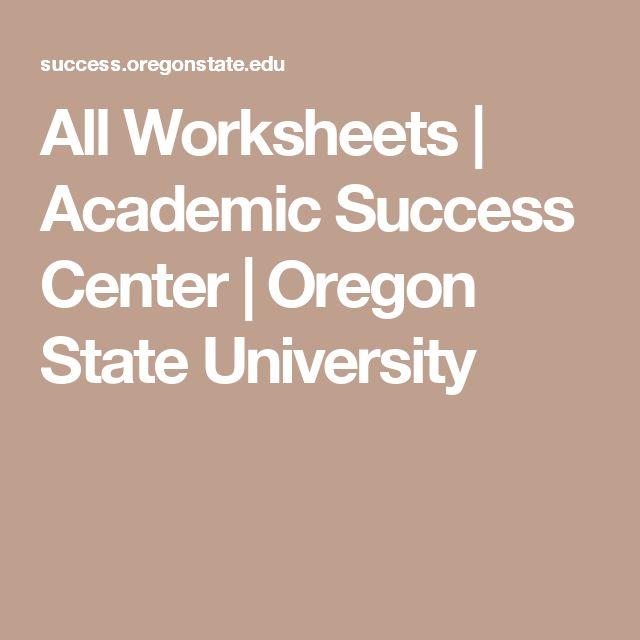 All Worksheets | Academic Success Center | Oregon State University