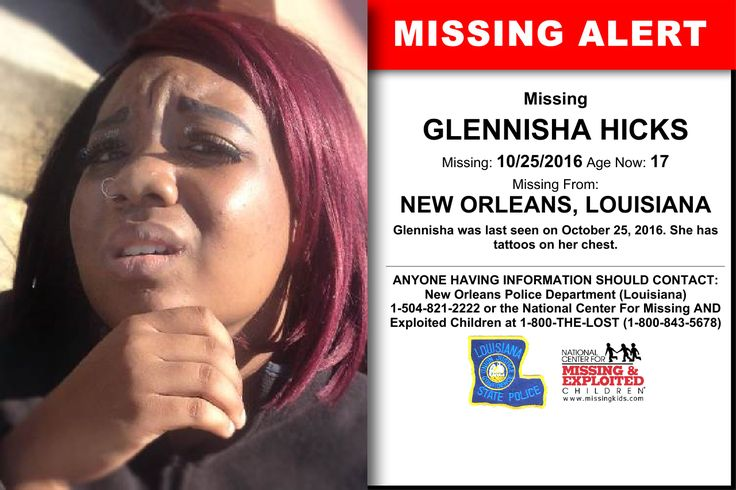 GLENNISHA HICKS, Age Now: 17, Missing: 10/25/2016. Missing From NEW ORLEANS, LA. ANYONE HAVING INFORMATION SHOULD CONTACT: New Orleans Police Department (Louisiana) 1-504-821-2222.