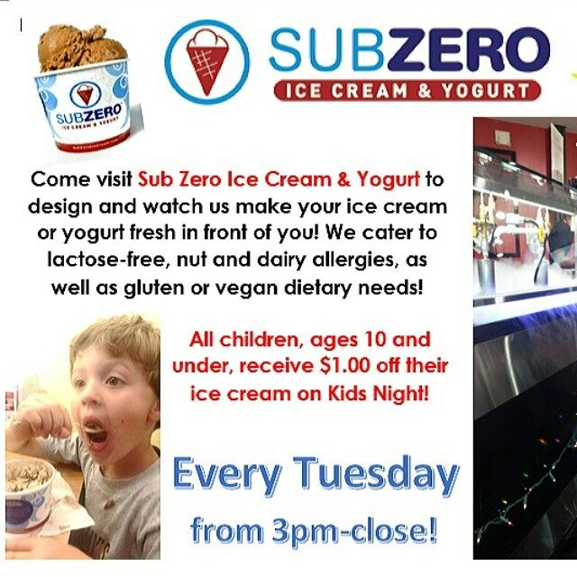 Did you know EVERY Tuesday night is Kids night?? All kids 10 and under get a dollar off any ice cream they choose!