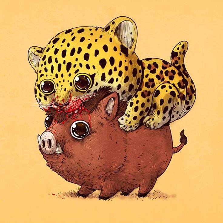 O ilustrador talentoso Alex Solis continua seu projeto com uma nova série de ilustrações que mostram alguns predadores e presas adoráveis em composições bonitas e coloridas.