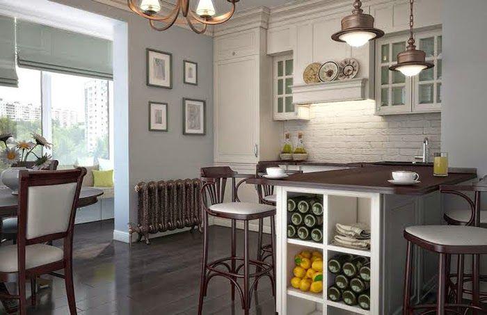 На кухне в стиле прованс можно использовать сколько угодно текстиля, украшая натуральными тяжелыми тканями окна, мебель, поверхности, пол и даже стены.