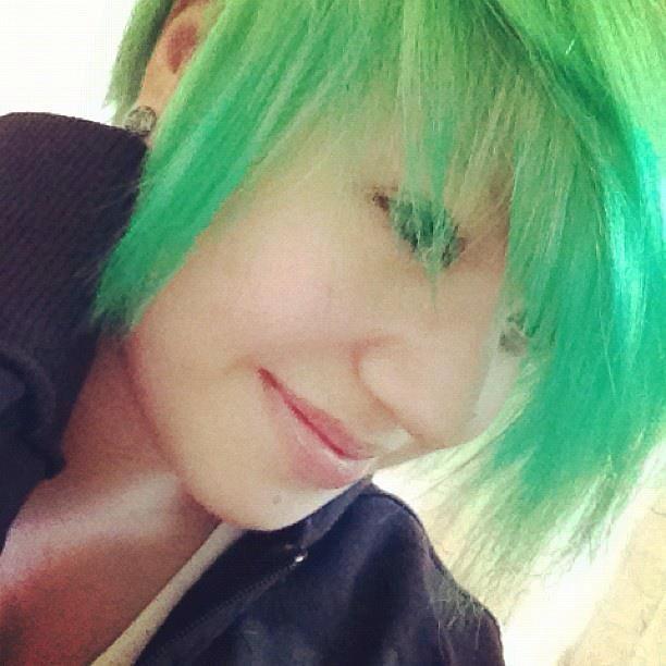 Splat Neon Green Long Bangs With Pixie Hair Cut Her