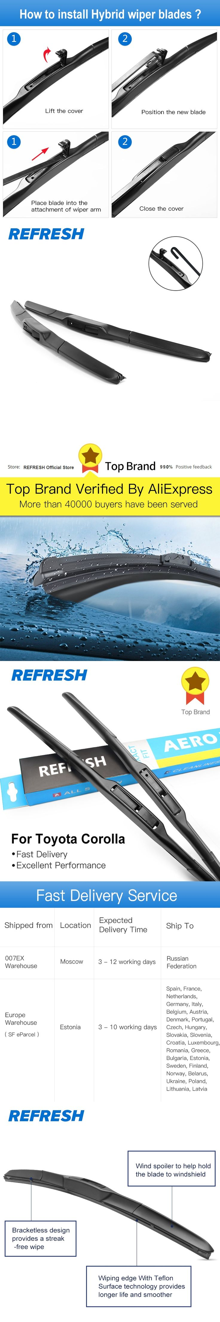 """Wiper blades for Toyota Corolla (Verso 2, 2004-2009) 26""""+16"""" fit standard J hook wiper arms only HY-002"""