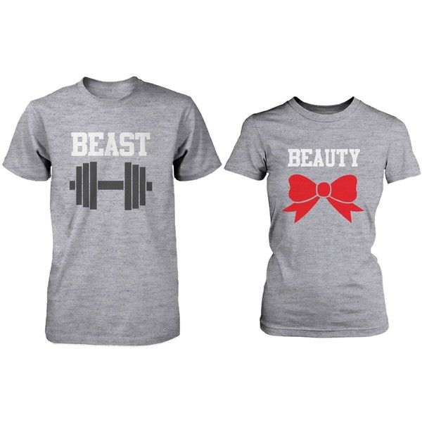 Matching Couple Shirts Beauty and Beast Grey Cotton Graphic T-shirts (105 PEN) ❤ liked on Polyvore featuring tops, t-shirts, shirts, grey t shirt, graphic shirts, cotton t shirts, tee-shirt and graphic design tees