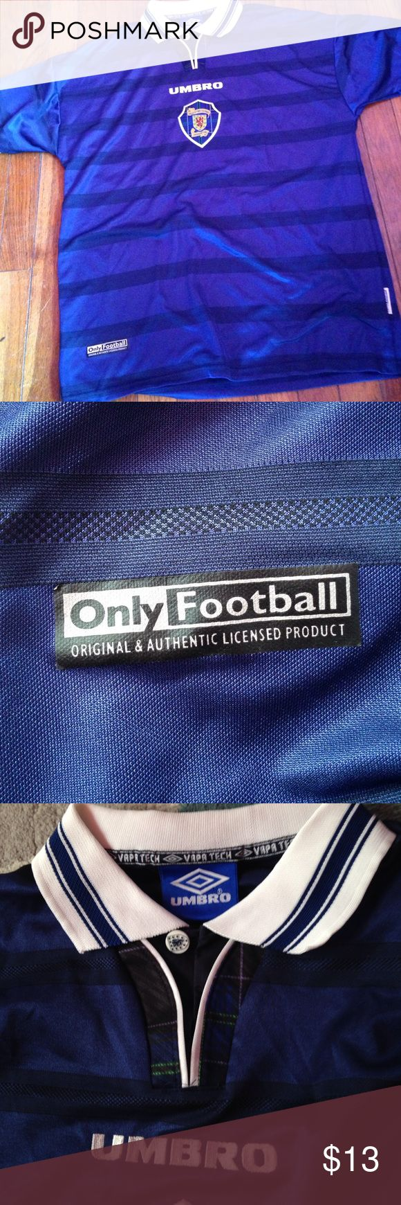 Umbro soccer jersey Navy blue umbro football/soccer jersey. Says the Scottish football association in middle on shield. Nice collar with detailed button below collar. Pre worn no stains or holes (not Nike) Nike Other