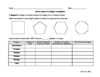 In this investigation students will derive the formula for the sum of the angles in a polygon.