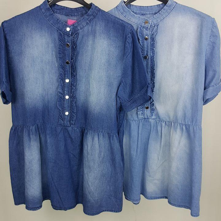 #camicia #denim #mezza #manica #bottocini #oro #volant #valeria #abbigliamento