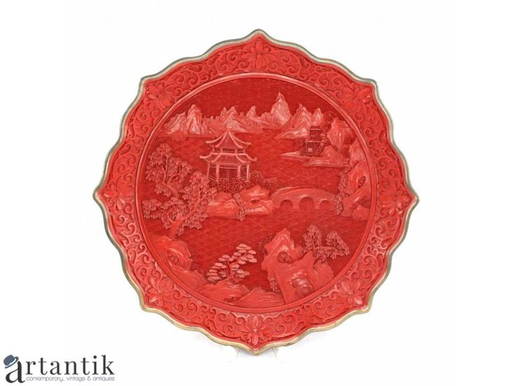 Platou decorativ chinezesc - alama, lacquer & cinabru sculptat
