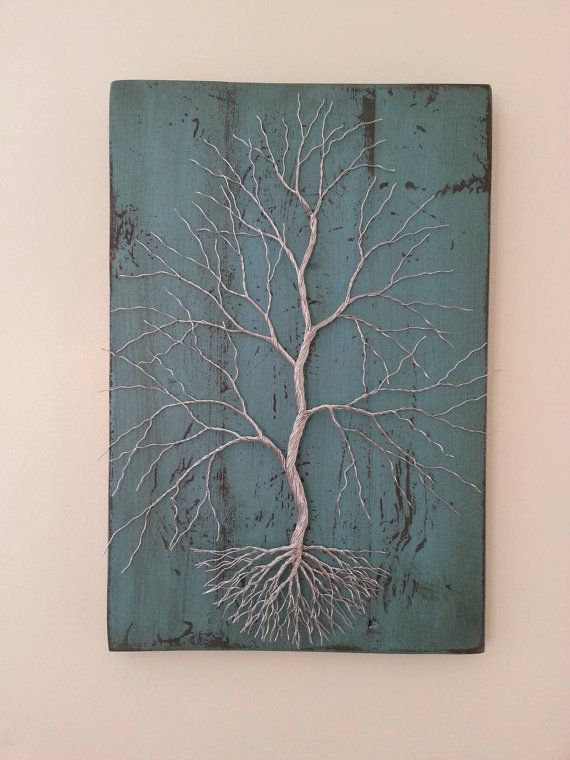 Wire Tree on Distressed Turquoise Board.  by TheWireForestWireArt