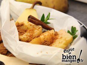 Papillote de poires aux spéculoos - 60 gr de Beurre gastronomique Président 4 Poires conférence (mûres) 1 citron (petit ) 80 gr de sucre semoule 1 gousse(s) de 4 spéculoos