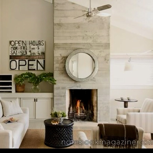 modern country i like wood textured concrete fireplace face