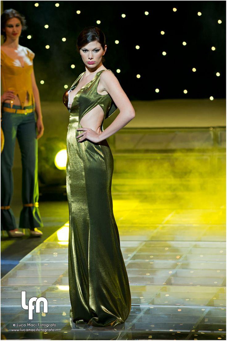 evening dress, green, copper bra...med-moda