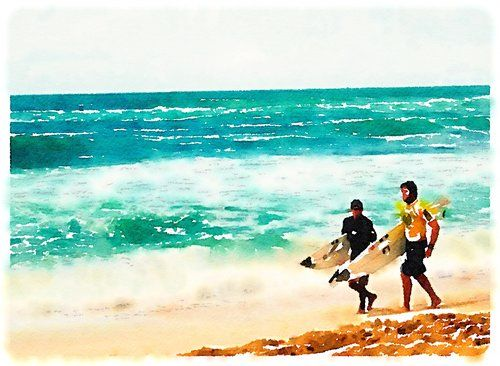 Hawaii Print Art, original art, art prints for sale, travel art, support artists, art for sale online, Society6 artist, travel, adventure, Lindsay Shapka art, beach, waves, Oahu, surf, surfers, surfs up