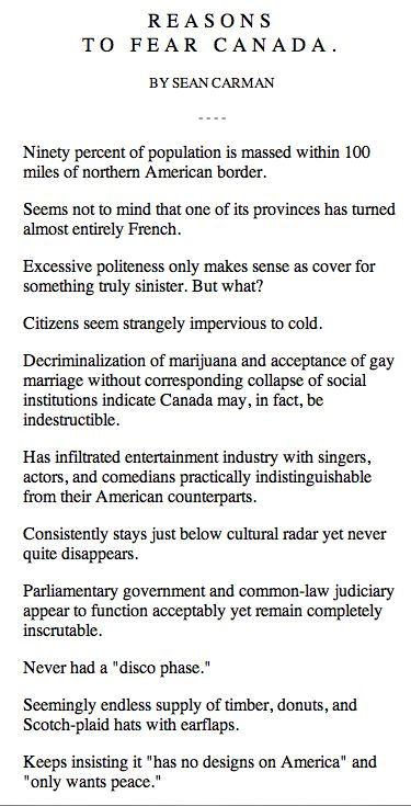 Reasons to Fear Canada :-) #Canada I'm laughing so hard right now!!  Proud to be a Canuck!