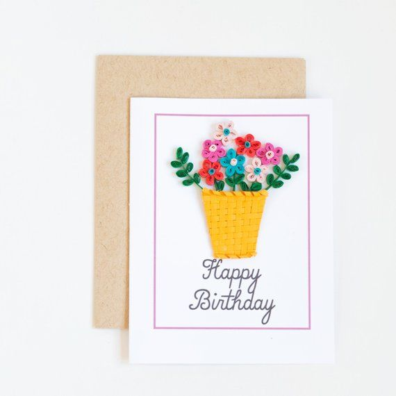 Floral Happy Birthday Greeting Paper Flower Basket Bday Gift For