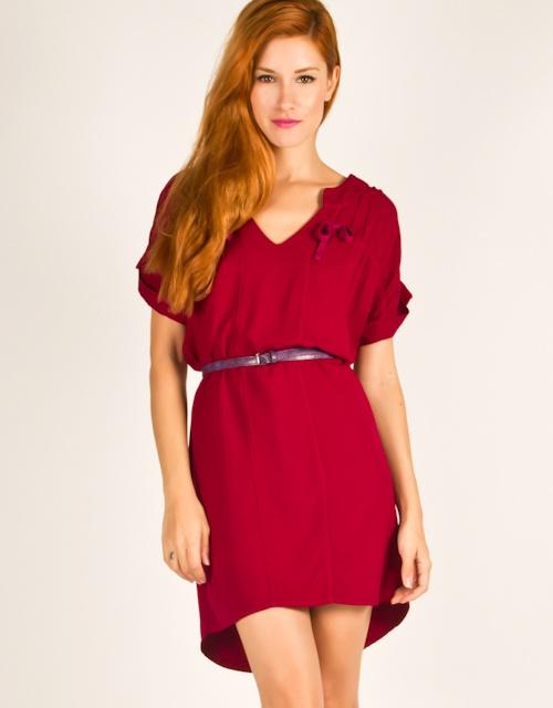 Short sleeve, V-neck, asymmetric dress with gatherings on the shoulders. #fw13 #fashion #womensfashion #dress #vneck #asymmetric #clothes