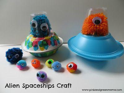 Alien Spaceship Craft, children, elementary school, #knutselen, kinderen, kleuters, ruimteschip en monster, basisschool