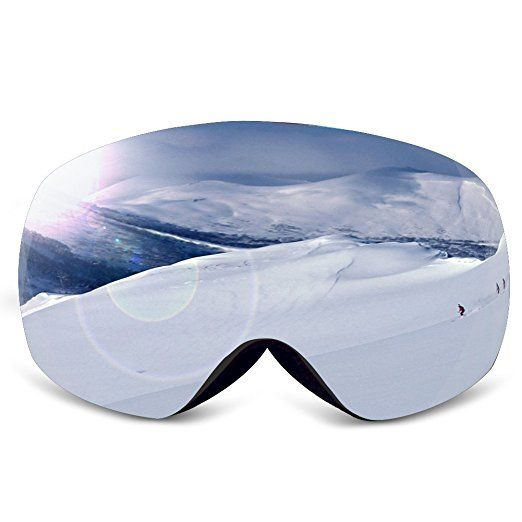 Ski Goggles,KAMUGO Snowboard Snowmobile Snow Goggles with UV400 Protection Anti-fog Spherical Frameless Detachable Dual Lenses for Men&Women