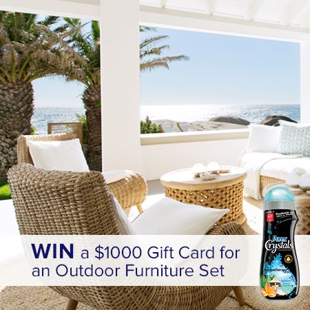 Facebook Twitter PinterestHere is an offer where you can enter daily to win $1000 towards an Outdoor Furniture Set or 5 Purex Crystals Prize Packs. Ends on July 11, 2016. ENTER HERE