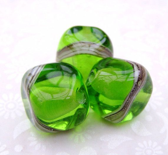 Lampwork Beads Glass Grass Green Nuggets by GlitteringprizeGlass, £7.25